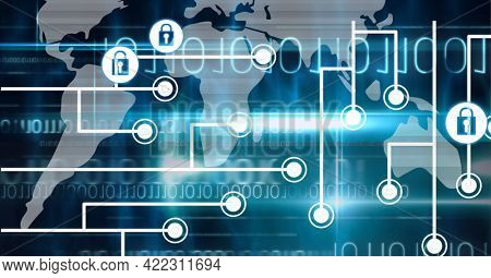 Composition of grey world map with white computer motherboard and connected padlock icons on black. global computer and digital security concept digitally generated image.