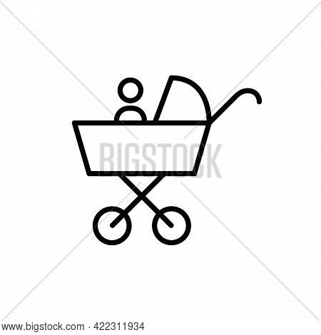 Baby Buggy Carriage Black Line Icon. Baby Carriage With Baby Badge. Trendy Flat Isolated Symbol Sign