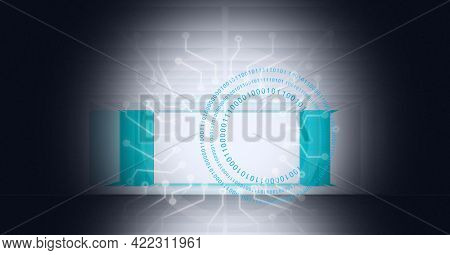 Composition of white circuits and binary code spiral on vignetted 3d white and green grid background. global computer and digital security concept digitally generated image.