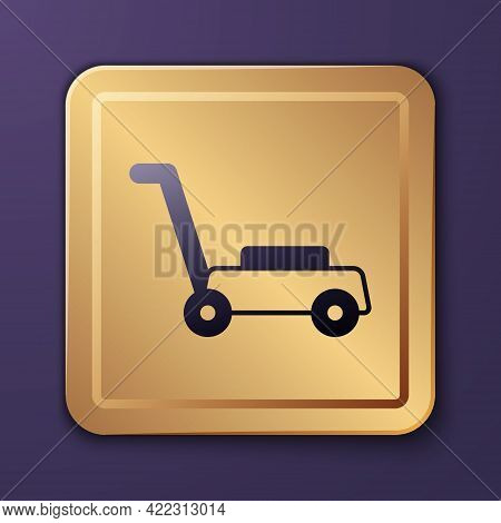 Purple Lawn Mower Icon Isolated On Purple Background. Lawn Mower Cutting Grass. Gold Square Button.