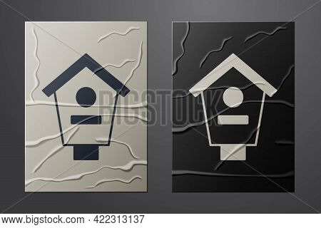 White Bird House Icon Isolated On Crumpled Paper Background. Nesting Box Birdhouse, Homemade Buildin
