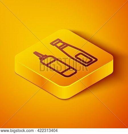 Isometric Line Sauce Bottle Icon Isolated On Orange Background. Ketchup, Mustard And Mayonnaise Bott