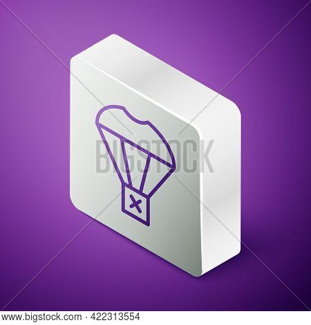 Isometric Line Box Flying On Parachute Icon Isolated On Purple Background. Parcel With Parachute For