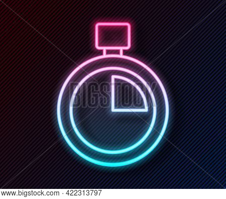 Glowing Neon Line Stopwatch Icon Isolated On Black Background. Time Timer Sign. Chronometer Sign. Ve