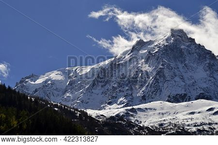 Monte Bianco (mont Blanc) Just Outside The Mont Blanc Tunnel.