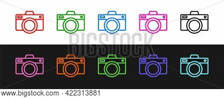 Set Line Photo Camera Icon Isolated On Black And White Background. Foto Camera Icon. Vector