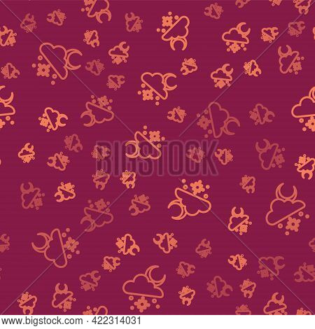 Brown Line Cloud With Snow And Sun Icon Isolated Seamless Pattern On Red Background. Cloud With Snow