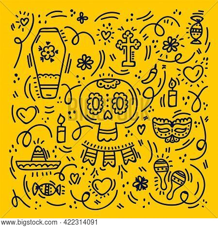 Day Of The Dead, Background Dia De Los Muertos. Pattern With A Skull Or Greeting Card. Colorful Vect