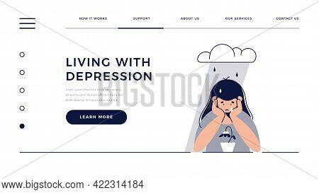 Depression, Sadness, Mental Illness Web Template. Sad, Unhappy Teenage Girl Sits Under Rain Cloud, F