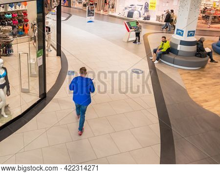 Zabrze. Poland 8 Maj 2021. Escalator People In Platan City Center Zabrze. Interior Of Retail Centre