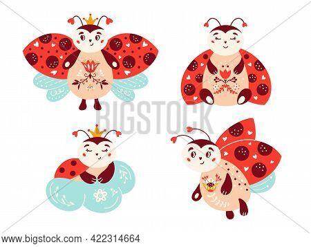 Cute Cartoon Ladybug Vector Set Ladybird Red Bug
