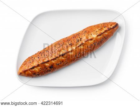 Turkish Boat-shaped Flatbread Pide Isolated On White