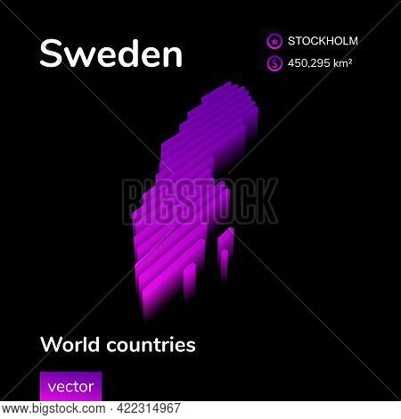 Stylized Neon Digital Isometric Striped Vector Sweden Map With 3d Effect. Map Of Sweden Is In Violet