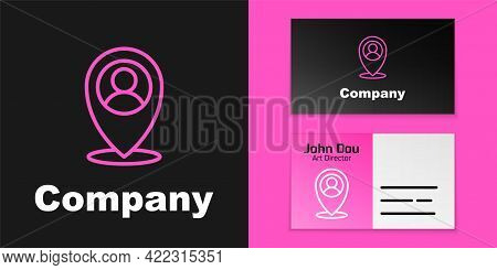 Pink Line Map Marker With A Silhouette Of A Person Icon Isolated On Black Background. Gps Location S