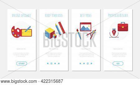 Vector Design, Photo Onboard Screen Mobile App Set