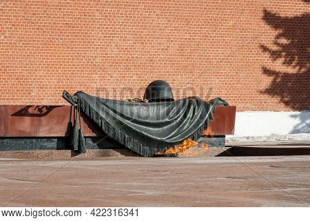 Moscow, Russia - 03.24.2021: Eternal Flame At The Tomb Of The Unknown Soldier At The Kremlin Wall On