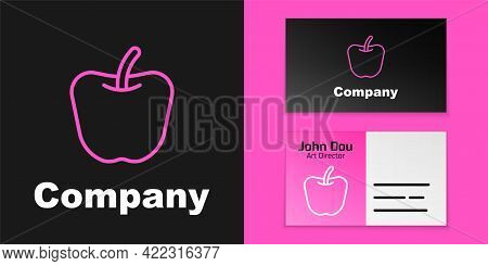 Pink Line Apple Icon Isolated Pink Line Background. Excess Weight. Healthy Diet Menu. Fitness Diet A