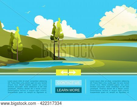 Vector Banner Template For Home Landing Page, Cartoon Wild Nature Landscape Summer Meadows With Hill