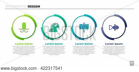Set Octopus, Macaw Parrot, Zoo Park And Fish. Business Infographic Template. Vector