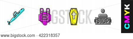 Set Submarine, Bulletproof Vest, Coffin With Cross And Stop War Icon. Vector