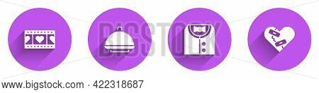 Set Play Video With Heart, Covered Tray, Suit And Healed Broken Icon With Long Shadow. Vector