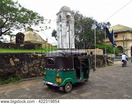 Galle, Sri Lanka - 10 Jan 2011: Tuk Tuk In Old Town Of Galle, Sri Lanka