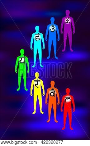 Aura, The Chakra System. Spiritual Growth Of A Person. The Silhouette Of A Person. Illustration