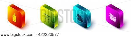 Set Isometric Bottle For Cleaning Agent, Ironing Board, Water Spill And Basin With Soap Suds Icon. V