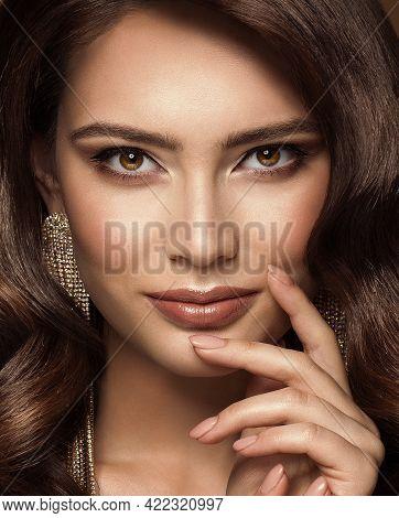 Beauty Woman Face Make Up. Fashion Model Close Up Portrait. Lips And Smokey Eyes Makeup. Beautiful B