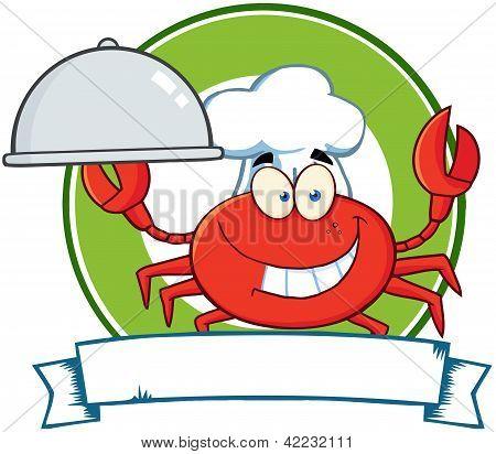 Illustration Of Crab Chef Cartoon Mascot Logo poster