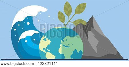 Visualization Of Climate Change On Planet. Tsunami Heading Towards Planet. Climate And Environmental