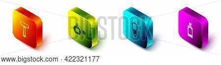Set Isometric Shaving Razor, Perfume, Pumice For Feet And Spray Can Hairspray Icon. Vector