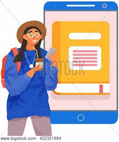 Girl Uses Application On Smartphone To Read Books. Electronic Library In Your Phone Concept. Woman R