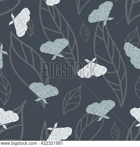 Vector Magical Moths On Dark Leaves Seamless Pattern Background.