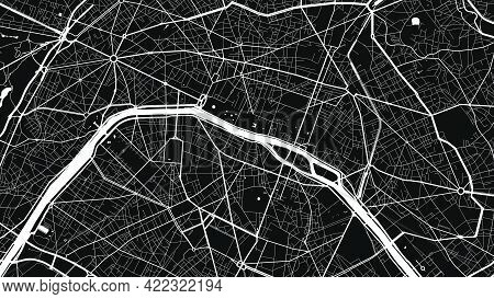 Black And White Paris City Area Vector Background Map, Streets And Water Cartography Illustration. W