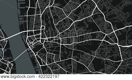 Black And White Liverpool City Area Vector Background Map, Streets And Water Cartography Illustratio