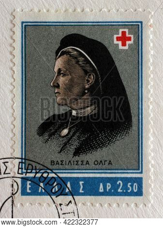 ZAGREB, CROATIA - SEPTEMBER 13, 2014: Stamp printed by Greece shows Queen Olga, founder of Greek Red Cross, International Red Cross series, circa 1963