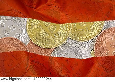 Mining In Austria. Bitcoins On The Background Of The Austria Flag. Concept For Investors In Cryptocu