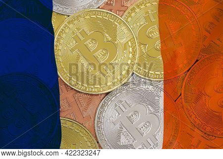 Mining In France. Bitcoins On The Background Of The France Flag. Concept For Investors In Cryptocurr