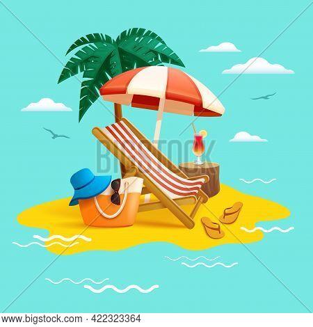 Summer Holiday Beach Vacation. Beach Chair, Umbrella, Coconut Tree ,beach Bag Hat And Flip-flops On