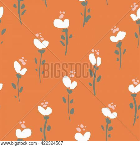Uphill Florescence Seamless Vector Pattern. Simple Stems Of Hand-painted White Flowers Placed Diagon