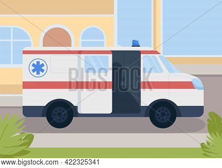 Medical Transportation Flat Color Vector Illustration. Healthcare Service. Paramedics Transport. Ear