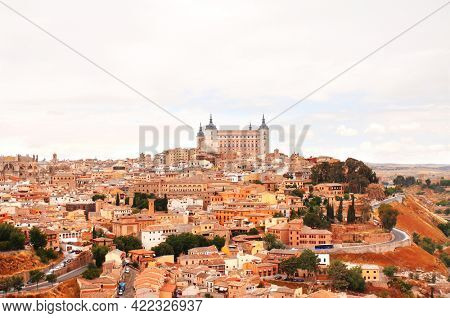 Aerial view of medieval town Toledo, Spain, Europe. Top view of Toledo downtown. UNESCO world heritage site