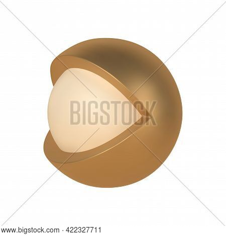 Golden Abstract 3d Open Eye Vector Template. Decorative Metal Decoration Ball With Cutout And Second