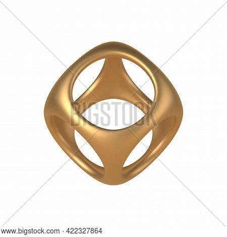 Gold 3d Cube With Round Cutouts Vector Template. Geometric Box Decoration Made Precious Metal For Cr