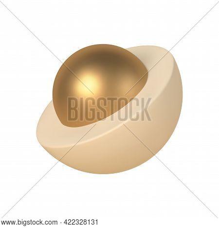 Abstract 3d Hemisphere With Golden Ball Inside Vector Template. Geometric Scandinavian Design With R