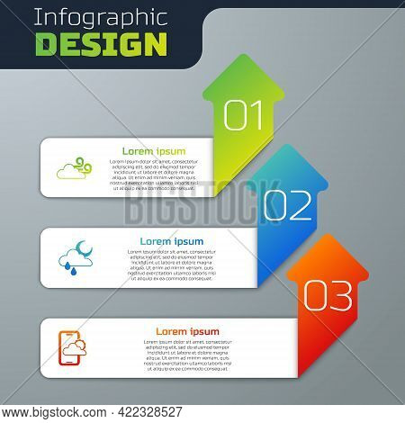 Set Windy Weather, Cloud With Rain And Moon And Weather Forecast. Business Infographic Template. Vec