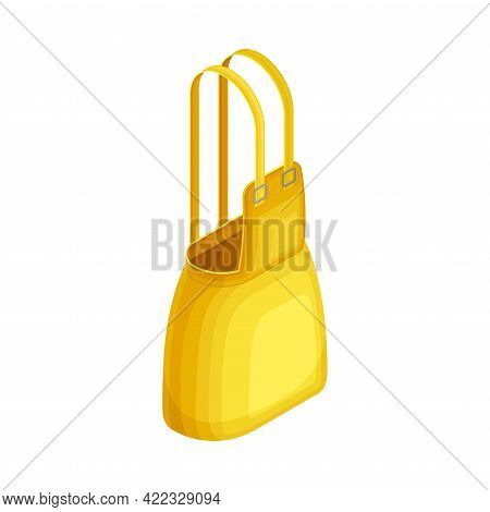 Yellow Pinafore Dress With Shoulder Straps As Clothing Or Apparel Item Made Of Fabric Isometric Vect