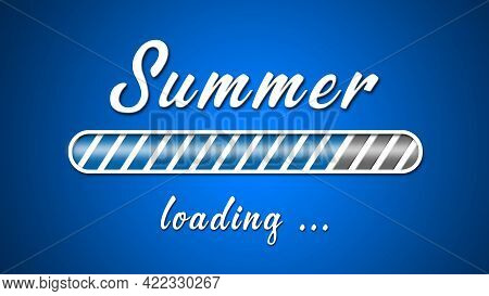 Loading Summer Greeting Card - White Lettering And Loading Bar On Blue Background In Light Effect -