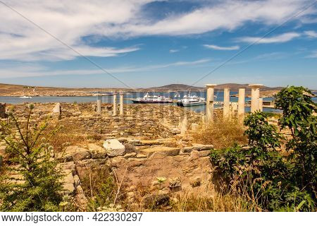Landscape Of Delos Island In Greece - View From The Hill On The Island With Big Area Of Ancient Ruin